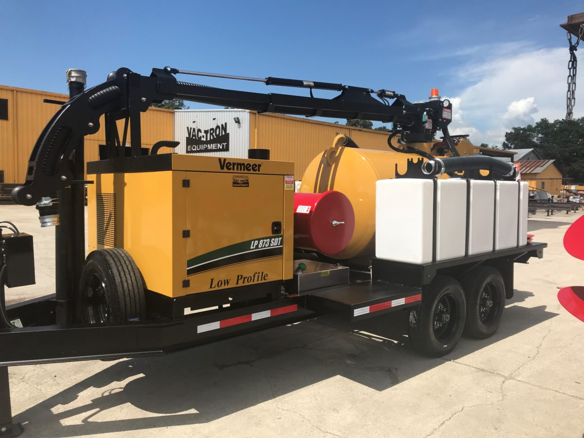 The Vac-Tron Low Profile Series comes standard with 500 to 1200-gallon debris tank, 100 to 400-gallon water tanks capacities with 3500 psi @ 4 gpm, hydraulic rear door, the patented (Big Red) CVS filtration system, a reverse pressure system and a heavy-duty I-beam trailer with Dexter torsion axles.